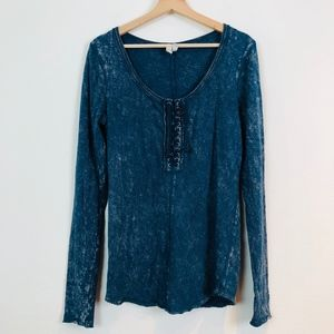 We the Free Lace Up Layering Thermal Henley